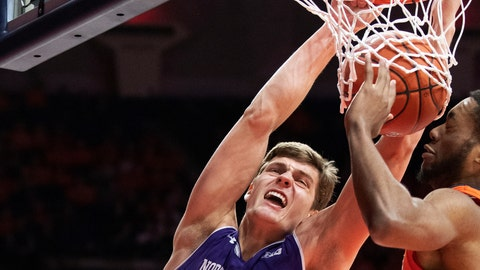 <p>               FILE - In this  March 3, 2019, file photo, Northwestern forward Miller Kopp, left, dunks the ball against Illinois guard Alan Griffin during the second half of an NCAA college basketball game in Champaign, Ill. Northwestern hopes to find its footing coming off back-to-back losing seasons since the school that hosted the NCAA's inaugural Final Four made the tournament for the first time. (AP Photo/Stephen Haas, File)             </p>