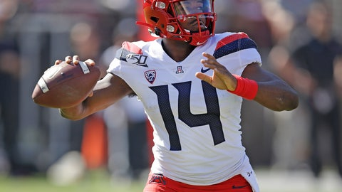 <p>               Arizona quarterback Khalil Tate passes against Stanford in the first half of an NCAA college football game Saturday, Oct. 26, 2019, in Stanford, Calif. (AP Photo/Ben Margot)             </p>