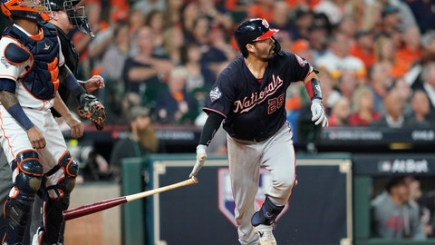 <p>               Washington Nationals' Kurt Suzuki hits a home run during the seventh inning of Game 2 of the baseball World Series against the Houston Astros Wednesday, Oct. 23, 2019, in Houston. (AP Photo/David J. Phillip)             </p>