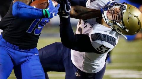 <p>               Memphis running back Kenneth Gainwell, left, stiff-arms Navy defender Tama Tuitele during an NCAA college football game Thursday, Sept. 26, 2019, in Memphis, Tenn. (Mark Weber/Daily Memphian via AP)             </p>