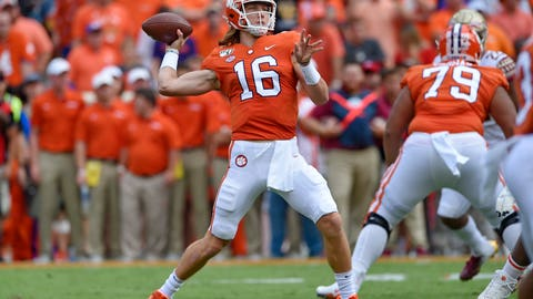 <p>               Clemson quarterback Trevor Lawrence drops back to pass during the first half of an NCAA college football game against Florida State Saturday, Oct. 12, 2019, in Clemson, S.C. (AP Photo/Richard Shiro)             </p>