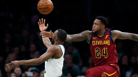 <p>               Boston Celtics' Kemba Walker, left, shoots against Cleveland Cavaliers' Jarell Martin (24) during the first half of an NBA preseason basketball game in Boston, Sunday, Oct. 13, 2019. (AP Photo/Michael Dwyer)             </p>