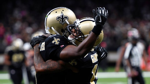 <p>               New Orleans Saints wide receiver Ted Ginn, right, celebrates his touchdown reception with quarterback Teddy Bridgewater in the second half of an NFL football game against the Tampa Bay Buccaneers in New Orleans, Sunday, Oct. 6, 2019. (AP Photo/Bill Feig)             </p>