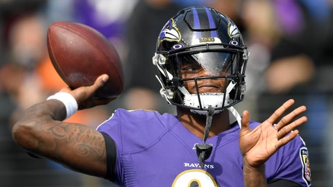 <p>               Baltimore Ravens quarterback Lamar Jackson works out prior to an NFL football game against the Cincinnati Bengals Sunday, Oct. 13, 2019, in Baltimore. (AP Photo/Nick Wass)             </p>