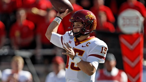 <p>               Iowa State's Brock Purdy (15) passes the ball during the first half of an NCAA college football game against Texas Tech, Saturday, Oct. 19, 2019, in Lubbock, Texas. (Brad Tollefson/Lubbock Avalanche-Journal via AP)             </p>