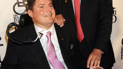 <p>               FILE - In this Sept. 22, 2008, file photo, Pro Football Hall of Fame player Nick Buoniconti, right, and his son Marc Buoniconti arrive for the 23rd Annual Great Sports Legends Dinner in New York. Pro Football Hall of Famer Ed Reed and such sports stars as Dwyane Wade, Wladimir Klitschko, Chase Utley, Matt Biondi, Christian Vieri, Amy Van Dyken-Rouen and Meghan Duggan will be honored by The Buoniconti Fund to Cure Paralysis on Monday night, Oct. 7, 2019, at the organization's annual gala. The night really will be dedicated to the late Nick Buoniconti.(AP Photo/Henny Ray Abrams, FIle)             </p>