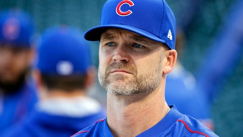 <p>               FILE - In this Oct. 14, 2016, file photo, Chicago Cubs' David Ross waits for his turn during batting practice before baseball's National League Championship Series against the Los Angeles Dodgers in Chicago.  The Chicago Cubs have hired former catcher David Ross to replace Joe Maddon as their manager, hoping he can help them get back to the playoffs after missing out for the first since 2014. (AP Photo/Charles Rex Arbogast, File)             </p>