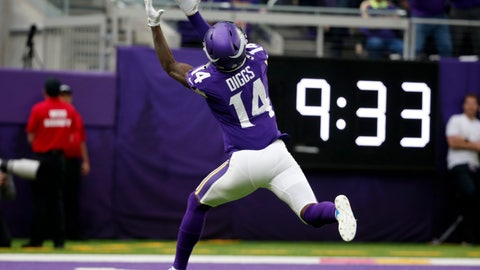 <p>               Minnesota Vikings wide receiver Stefon Diggs catches a 51-yard touchdown pass during the first half of an NFL football game against the Philadelphia Eagles, Sunday, Oct. 13, 2019, in Minneapolis. (AP Photo/Bruce Kluckhohn)             </p>