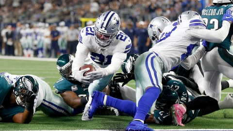 <p>               Dallas Cowboys running back Ezekiel Elliott (21) reaches the end zone for a touchdown against the Philadelphia Eagles in the first half of an NFL football game in Arlington, Texas, Sunday, Oct. 20, 2019. (AP Photo/Ron Jenkins)             </p>