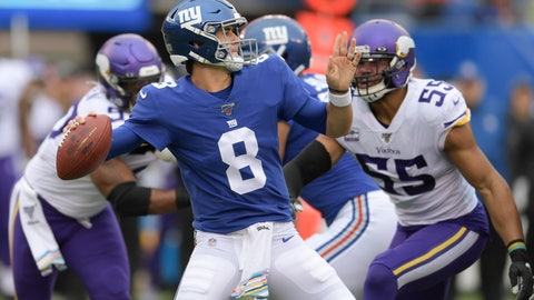 <p>               New York Giants quarterback Daniel Jones (8) passes against the Minnesota Vikings during the first quarter of an NFL football game, Sunday, Oct. 6, 2019, in East Rutherford, N.J. (AP Photo/Bill Kostroun)             </p>