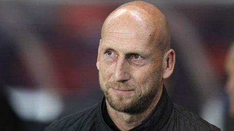<p>               FILE - In this file photo dated Thursday, Sept. 19, 2019, Feyenoord's manager Jaap Stam before the Europa League group G soccer match against Rangers at Ibrox in Glasgow, Scotland. Feyenoord coach Jaap Stam has quit, Monday Oct. 28, 2019, a day after his team slumped to a 4-0 defeat at arch-rival Ajax. (AP Photo/Scott Heppell, FILE)             </p>
