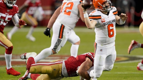 <p>               Cleveland Browns quarterback Baker Mayfield (6) throws the ball away as San Francisco 49ers defensive end Nick Bosa tries to tackle him during the first half of an NFL football game in Santa Clara, Calif., Monday, Oct. 7, 2019. (AP Photo/Tony Avelar)             </p>