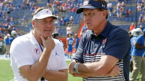 <p>               Florida head coach Dan Mullen, left, and Auburn head coach Gus Malzahn meet at midfield before an NCAA college football game, Saturday, Oct. 5, 2019, in Gainesville, Fla. (AP Photo/John Raoux)             </p>
