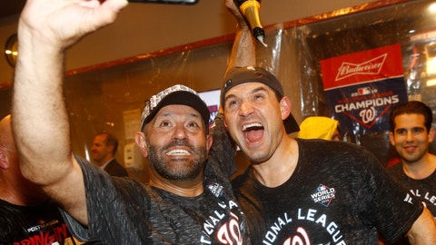 <p>               Washington Nationals' Ryan Zimmerman and Dr. Hirad Bagy celebrate after Game 4 of the baseball National League Championship Series against the St. Louis Cardinals Wednesday, Oct. 16, 2019, in Washington. The Nationals won 7-4 to win the series 4-0. (AP Photo/Patrick Semansky)             </p>