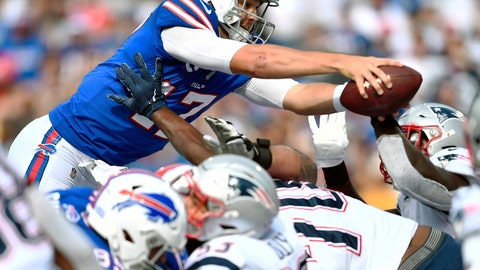 <p>               Buffalo Bills quarterback Josh Allen dives over the line of scrimmage to score a touchdown against the New England Patriots in the second half of an NFL football game, Sunday, Sept. 29, 2019, in Orchard Park, N.Y. (AP Photo/Adrian Kraus)             </p>