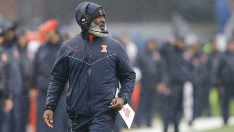 <p>               Illinois head coach Lovie Smith watches during the first half of an NCAA college football game against the Purdue, Saturday, Oct. 26, 2019, in West Lafayette, Ind. (AP Photo/Darron Cummings)             </p>