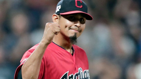 <p>               FILE - In this Sept. 20, 2019, file photo, Cleveland Indians relief pitcher Carlos Carrasco pumps his fist after the Indians defeated the Philadelphia Phillies 5-2 in a baseball game in Cleveland. Carrasco was selected as the 2019 Roberto Clemente Award winner, given annually by Major League Baseball to honor sportsmanship and community involvement, the league announced Friday, Oct. 5, 2019. (AP Photo/Tony Dejak, File)             </p>