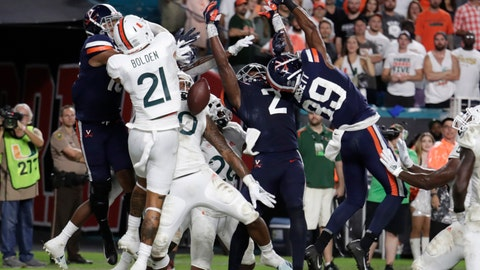 <p>               Virginia wide receiver Joe Reed (2) and wide receiver Dejon Brissett (89) can't come up with the football on a pass thrown by quarterback Bryce Perkins in the closing seconds of an NCAA college football game Friday, Oct. 11, 2019, in Miami Gardens, Fla. Miami won 17-9. (AP Photo/Lynne Sladky)             </p>