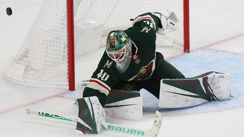 <p>               Minnesota Wild's Devan Dubnyk (4)0 blocks the puck from the net in the third period of an NHL hockey game against the Montreal Canadiens, Sunday Oct. 20, 2019, in St. Paul, Minn. (AP Photo/Stacy Bengs)             </p>