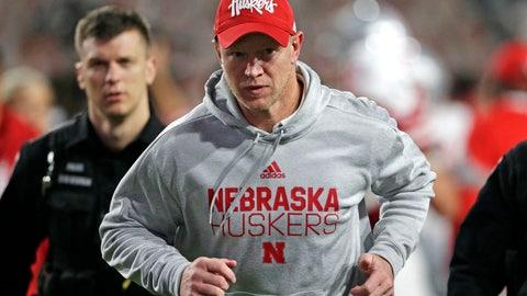 <p>               Nebraska head coach Scott Frost runs off the field following an NCAA college football game against Ohio State in Lincoln, Neb., Saturday, Sept. 28, 2019. Ohio State won 48-7. (AP Photo/Nati Harnik)             </p>