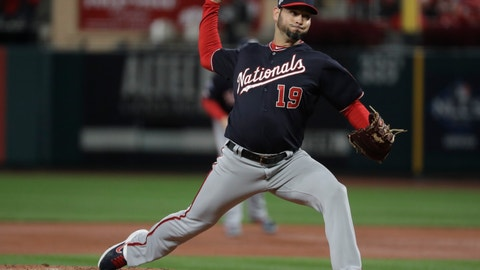 <p>               Washington Nationals starting pitcher Anibal Sanchez throws during the second inning of Game 1 of the baseball National League Championship Series against the St. Louis Cardinals Friday, Oct. 11, 2019, in St. Louis. (AP Photo/Mark Humphrey)             </p>