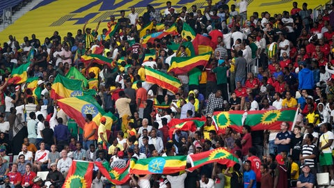 <p>               Spectators wave Ethiopian flags, top, and flags of the Oromo Liberation Front, bottom right, at the World Athletics Championships in Doha, Qatar, Monday, Sept. 30, 2019. (AP Photo/David J. Phillip)             </p>