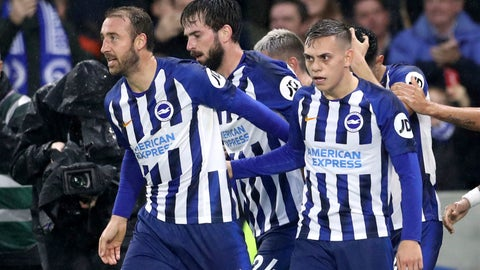 <p>               Brighton and Hove Albion's Glenn Murray, left, and Leandro Trossard celebrate Everton's Lucas Digne scoring an own goal during the English Premier League soccer match between Brighton and Hove Albion and Everton at the AMEX stadium, Brighton, England. Saturday, Oct. 26 2019 (Gareth Fuller/PA via AP)             </p>