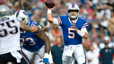 <p>               Buffalo Bills quarterback Matt Barkley passes against the New England Patriots in the second half of an NFL football game, Sunday, Sept. 29, 2019, in Orchard Park, N.Y. (AP Photo/Adrian Kraus)             </p>