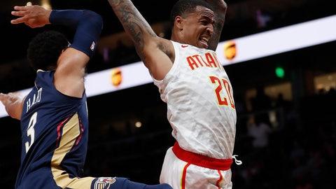 <p>               Atlanta Hawks forward John Collins (20) drives to the basket against New Orleans Pelicans guard Josh Hart (3) during the first half of a preseason NBA basketball game Monday, Oct. 7, 2019, in Atlanta. (AP Photo/John Bazemore)             </p>