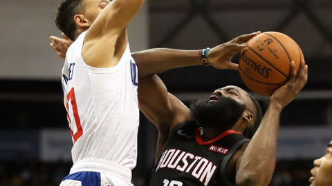 <p>               Houston Rockets shooting guard James Harden (13) shoots over Los Angeles Clippers point guard Landry Shamet (20) during the first quarter of an NBA preseason basketball game, Thursday, Oct 3, 2019, in Honolulu. (AP Photo/Marco Garcia)             </p>