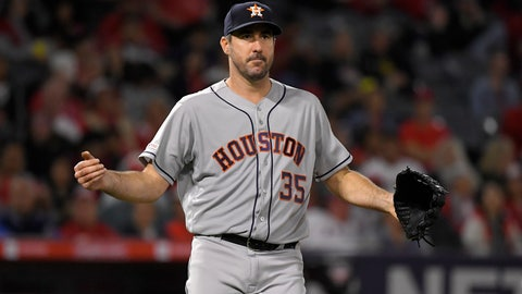 <p>               Houston Astros' Justin Verlander celebrates after completing 300 season strikeouts during the sixth inning of a baseball game against the Los Angeles Angels Saturday, Sept. 28, 2019, in Anaheim, Calif. (AP Photo/Mark J. Terrill)             </p>