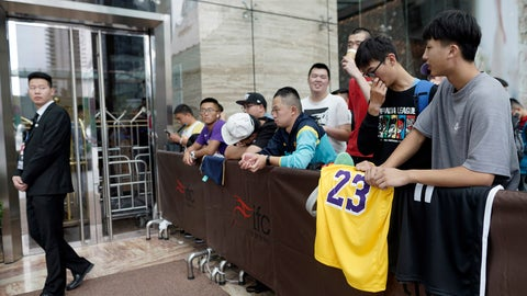 <p>               Chinese basketball fans gather outside of a hotel for a press conference that was later postponed ahead of an NBA preseason basketball game on Thursday between the Los Angeles Lakers and Brooklyn Nets in Shanghai, China, Wednesday, Oct. 9, 2019. The NBA has postponed Wednesday's scheduled media sessions in Shanghai for the Brooklyn Nets and Los Angeles Lakers, and it remains unclear if the teams will play in China this week as scheduled. (AP Photo)             </p>