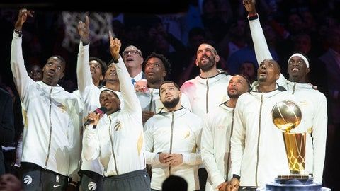 <p>               Toronto Raptors watch their 2019 NBA basketball championship pennant being raised before the team's game against the New Orleans Pelican on Tuesday, Oct. 22, 2019, in Toronto. (Chris Young/The Canadian Press via AP)             </p>