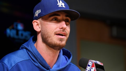 <p>               Los Angeles Dodgers' Cody Bellinger answers questions during a news conference prior to practice for Game 1 of the NLDS baseball game against the Washington Nationals, Wednesday, Oct. 2, 2019, in Los Angeles. (AP Photo/Mark J. Terrill)             </p>