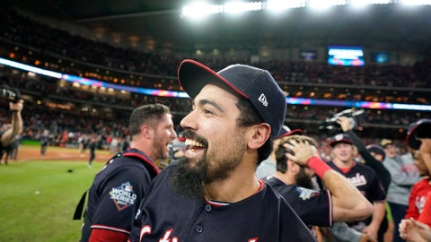 <p>               Washington Nationals third baseman Anthony Rendon celebrates after Game 7 of the baseball World Series against the Houston Astros Wednesday, Oct. 30, 2019, in Houston. The Nationals won 6-2 to win the series. (AP Photo/David J. Phillip)             </p>