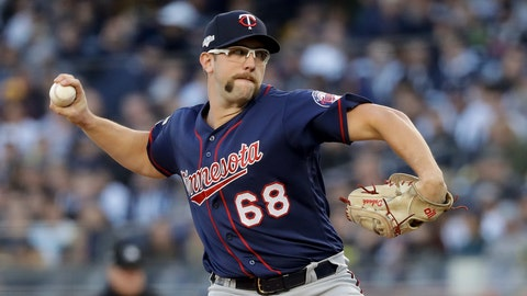 <p>               Minnesota Twins starting pitcher Randy Dobnak (68) delivers against the New York Yankees during the first inning of Game 2 of an American League Division Series baseball game, Saturday, Oct. 5, 2019, in New York. (AP Photo/Frank Franklin II)             </p>