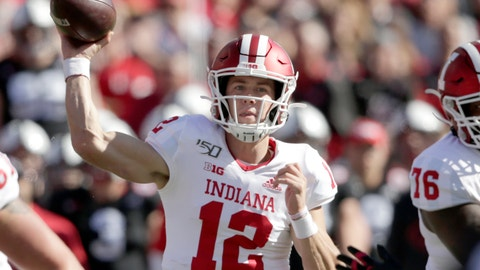 <p>               Indiana quarterback Peyton Ramsey (12) throws a pass during the first half of an NCAA college football game against Nebraska in Lincoln, Neb., Saturday, Oct. 26, 2019. (AP Photo/Nati Harnik)             </p>