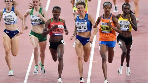 <p>               Sarah Mcdonald, of Great Britain, Ciara Mageean, of Ireland, Faith Kipyegon, of Kenya, Nikki Hiltz, of the United States, Sifan Hassan, of the Netherlands, and Winnie Nanyondo, of Uganda, from left, compete in the women's 1500 meter heats at the World Athletics Championships in Doha, Qatar, Wednesday, Oct. 2, 2019. (AP Photo/Martin Meissner)             </p>