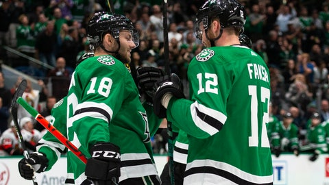 <p>               Dallas Stars center Radek Faksa (12) is congratulated by center Jason Dickinson (18) after scoring a goal during the first period of an NHL hockey game against the Ottawa Senators in Dallas, Monday, Oct. 21, 2019. (AP Photo/Sam Hodde)             </p>