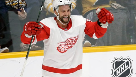 <p>               Detroit Red Wings center Luke Glendening celebrates after scoring against the Nashville Predators during the third period of an NHL hockey game Saturday, Oct. 5, 2019, in Nashville, Tenn. (AP Photo/Mark Humphrey)             </p>