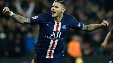 <p>               PSG's Mauro Icardi celebrates after scoring the second goal during the French League One soccer match between PSG and Marseille at the Parc des Princes stadium in Paris, France, Sunday, Oct. 27, 2019. (AP Photo/Kamil Zihnioglu)             </p>