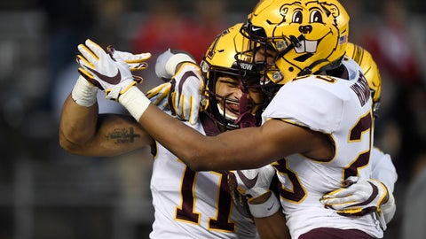 <p>               Minnesota defensive back Antoine Winfield Jr. (11) and defensive back Jordan Howden (23) celebrate after Winfield intercepts the ball for a touchdown during the second half of an NCAA college football game against Rutgers Saturday, Oct. 19, 2019, in Piscataway, N.J. (AP Photo/Sarah Stier)             </p>