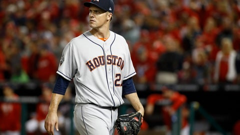 <p>               Houston Astros starting pitcher Zack Greinke leaves the game during the fifth inning of Game 3 of the baseball World Series against the Washington Nationals Friday, Oct. 25, 2019, in Washington. (AP Photo/Patrick Semansky)             </p>