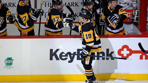 <p>               Pittsburgh Penguins' Jared McCann (19) returns to the bench after scoring during the first period of an NHL hockey game against the Philadelphia Flyers in Pittsburgh, Tuesday, Oct. 29, 2019. (AP Photo/Gene J. Puskar)             </p>