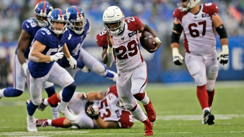 <p>               Arizona Cardinals' Chase Edmonds (29) runs the ball for a touchdown during the second half of an NFL football game against the New York Giants, Sunday, Oct. 20, 2019, in East Rutherford, N.J. (AP Photo/Adam Hunger)             </p>