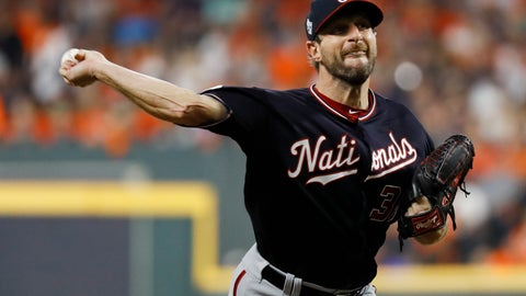<p>               Washington Nationals starting pitcher Max Scherzer throws against the Houston Astros during the first inning of Game 1 of the baseball World Series Tuesday, Oct. 22, 2019, in Houston. (AP Photo/Matt Slocum)             </p>