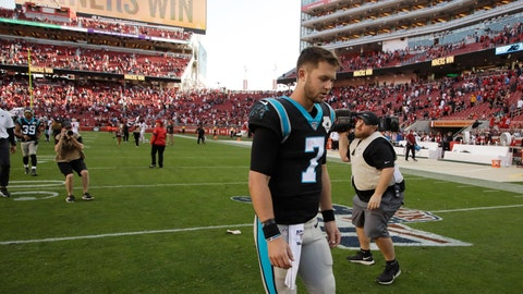 <p>               Carolina Panthers quarterback Kyle Allen walks off the field at the end of an NFL football game against the San Francisco 49ers in Santa Clara, Calif., Sunday, Oct. 27, 2019. San Francisco won the game 51-13. (AP Photo/Ben Margot)             </p>