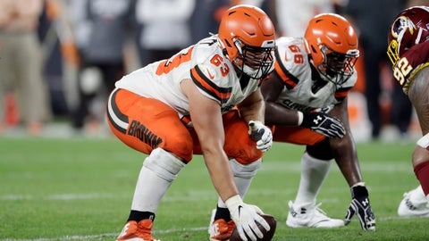 <p>               FILE - In this Aug. 8, 2019, file photo, Cleveland Browns center Austin Corbett (63) prepares to snap the ball during the second half of a preseason NFL football game against the Washington Redskins in Cleveland. The Browns traded Corbett on Tuesday, Oct. 15, 2019, to the Los Angeles Rams for an undisclosed 2021 draft pick(AP Photo/Ron Schwane)             </p>