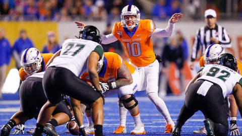 <p>               Boise State quarterback Chase Cord (10) calls signals at the line of scrimmage duirng the team's NCAA college football game against Hawaii, Saturday, Oct. 12, 2019, in Boise, Idaho. (AP Photo/Steve Conner)             </p>