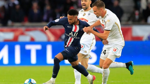 <p>               PSG's Neymar, left, and Angers' Romain Thomas battle for the ballduring French League One soccer match between PSG and Angers at the Parc des Princes stadium in Paris, Saturday, Oct. 5, 2019. (AP Photo/Michel Euler)             </p>